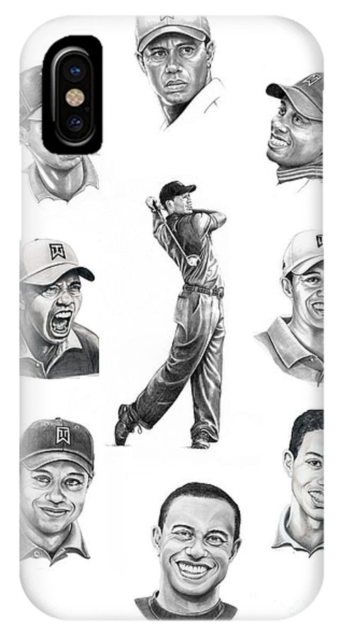 Tiger Woods IPhone X Case featuring the drawing Tiger Woods-murphy Elliott by Murphy Elliott