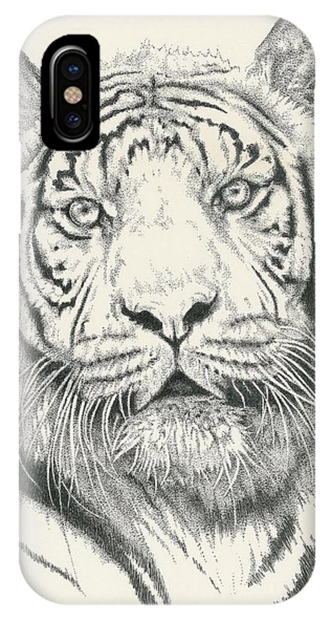 Tiger IPhone X Case featuring the drawing Tigerlily by Barbara Keith
