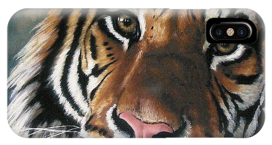 Tiger IPhone Case featuring the pastel Tigger by Barbara Keith