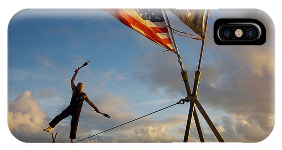 Balance IPhone Case featuring the photograph Tight Rope Walker In Key West by Carl Purcell