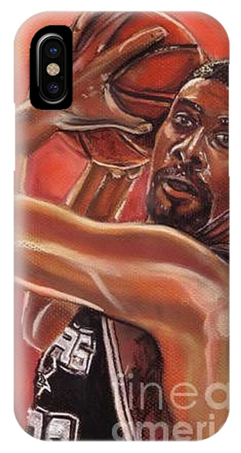 Spurs IPhone Case featuring the pastel Tim Duncan by Americo Salazar