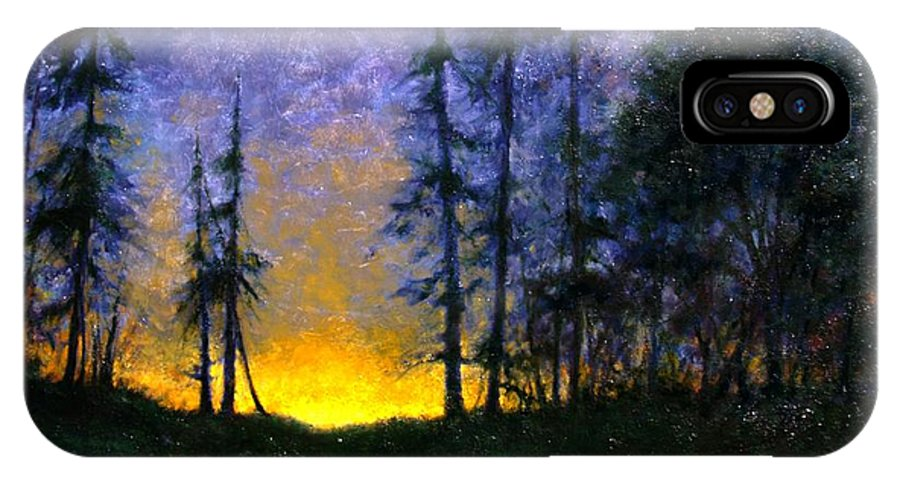 Landscape. Nocturn IPhone X Case featuring the painting Timberline by Jim Gola