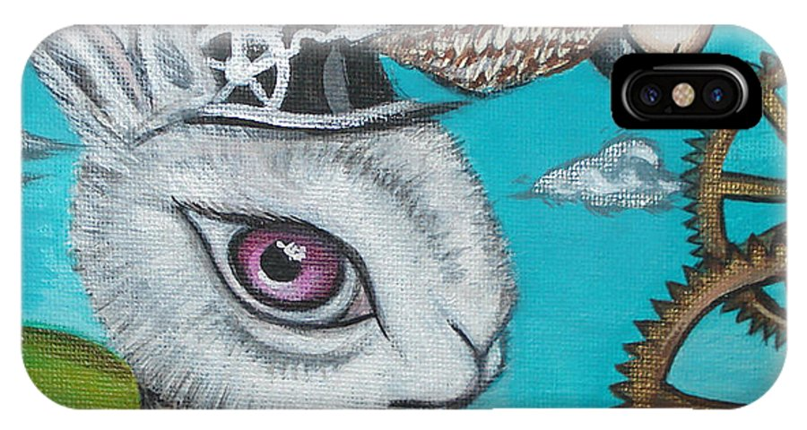 Alice In Wonderland IPhone X Case featuring the painting Time Flies For The White Rabbit by Jaz Higgins