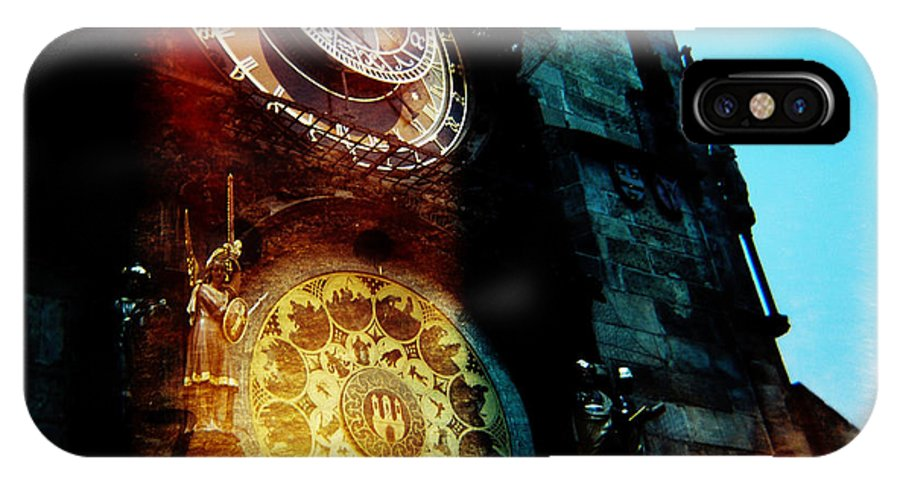 Clock Time Holga Color Photograph Praha IPhone X Case featuring the photograph Time Is Burning by Olivier De Rycke