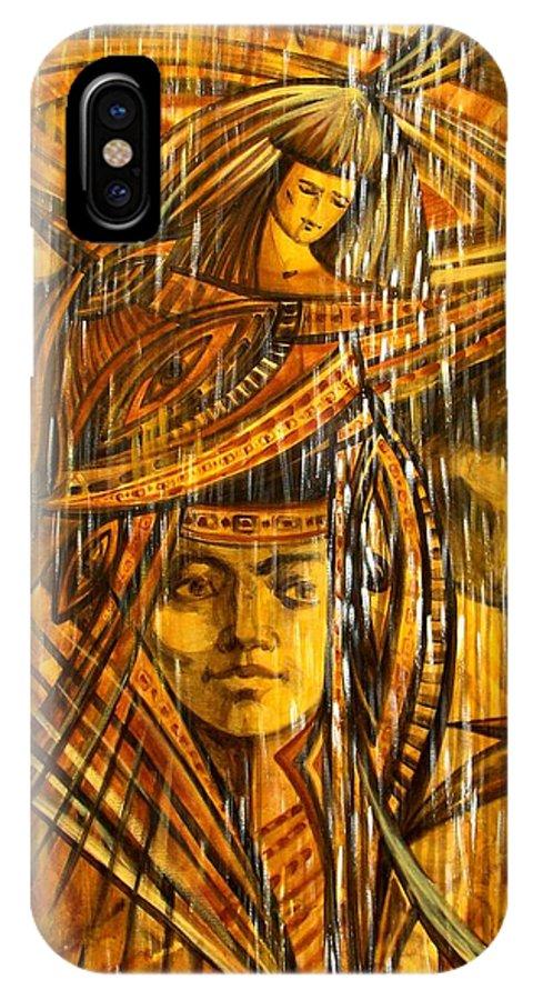 Surrealism IPhone X Case featuring the painting Time Rain by Inga Vereshchagina