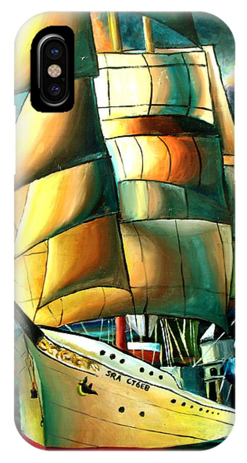 Ship IPhone X Case featuring the drawing Timeless by Darcie Duranceau