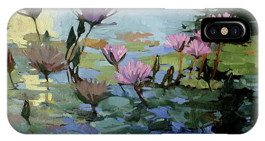 Floral IPhone X Case featuring the painting Times Between - Water Lilies by Betty Jean Billups