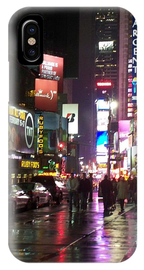 Times Square IPhone X Case featuring the photograph Times Square in the rain 1 by Anita Burgermeister