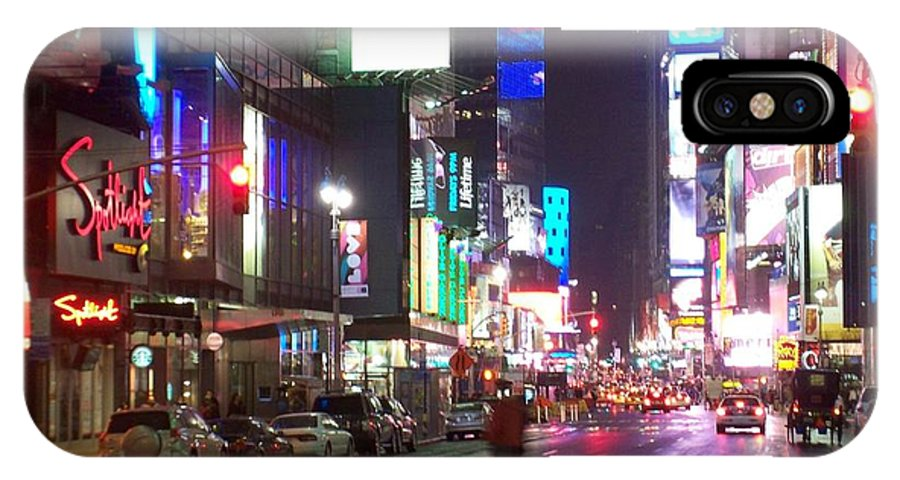 Times Square IPhone X Case featuring the photograph Times Square In The Rain 2 by Anita Burgermeister