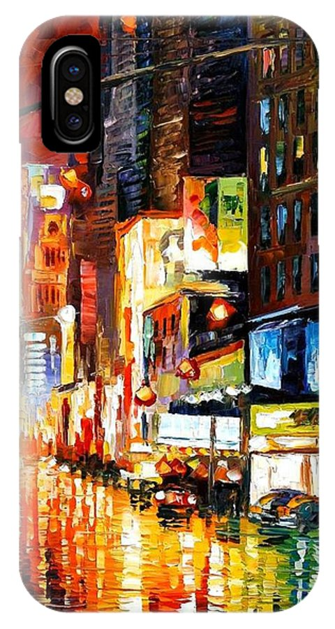 City IPhone X Case featuring the painting Times Square by Leonid Afremov