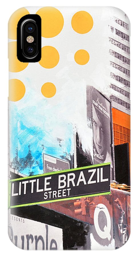 Ny IPhone X Case featuring the painting Times Square Little Brazil by Jean Pierre Rousselet