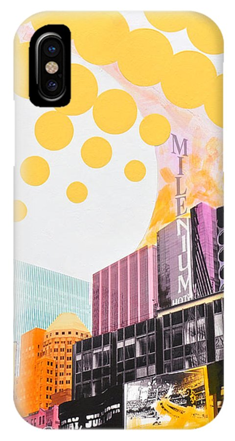 Ny IPhone X Case featuring the painting Times Square Milenium Hotel by Jean Pierre Rousselet