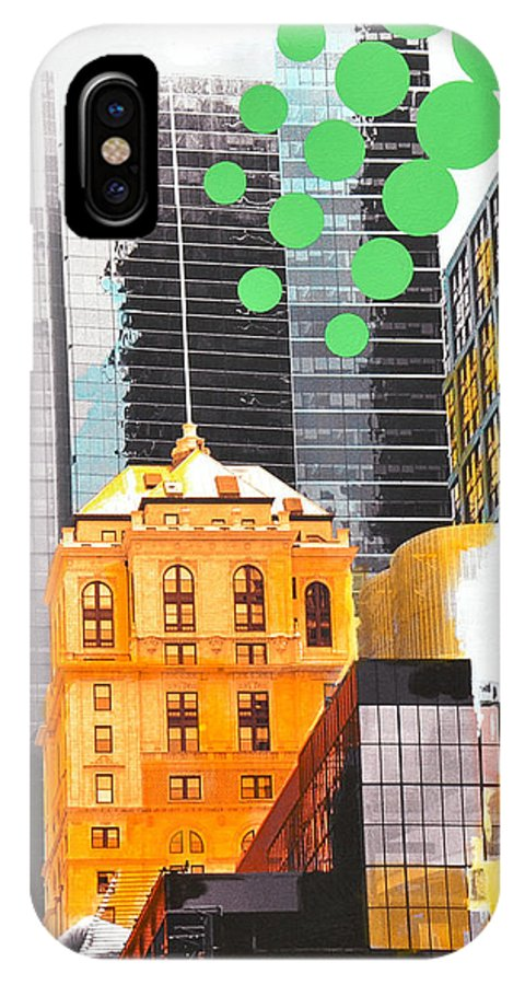 Ny IPhone X Case featuring the painting Times Square NY Advertise by Jean Pierre Rousselet