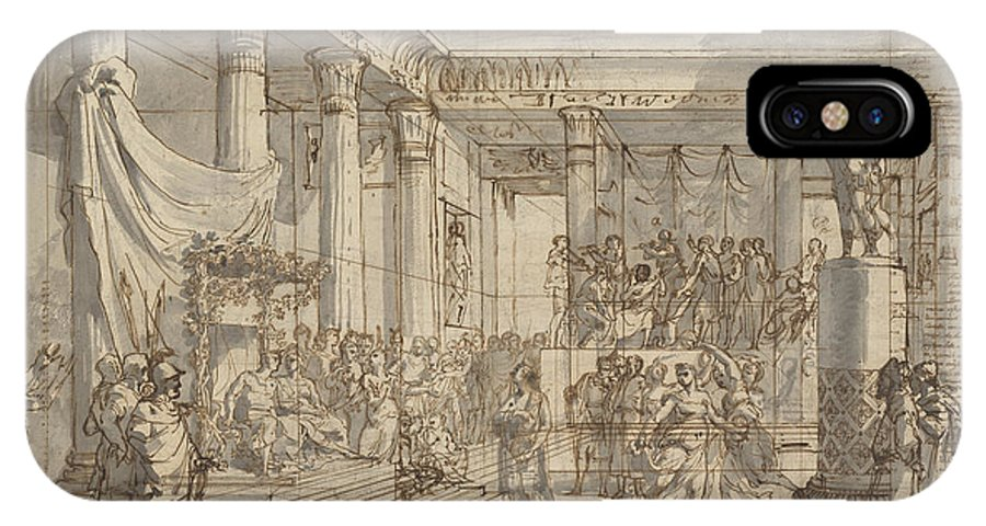 IPhone X Case featuring the drawing Timotheus Playing The Lyre Before Alexander And Tha?s In The Hall Of The Palace At Persepolis by Pietro Fancelli