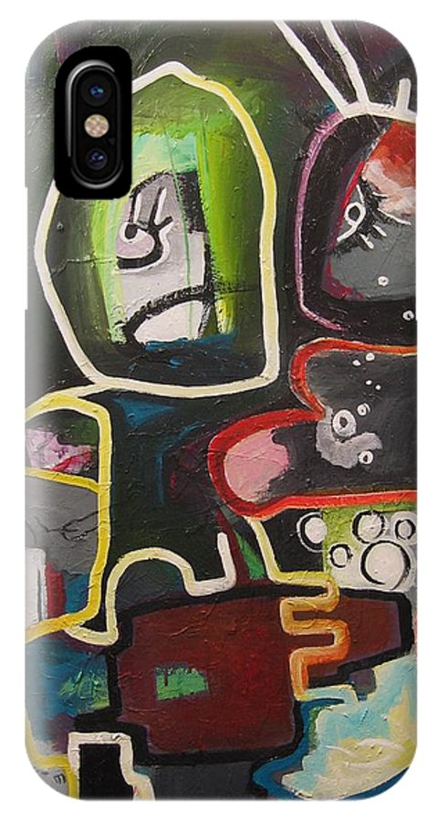 Couple Paintings IPhone X Case featuring the painting To Get Along by Seon-Jeong Kim