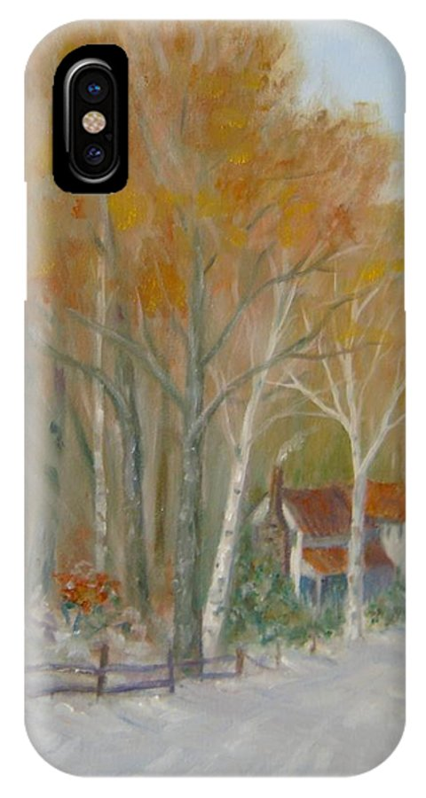 Country Road; House; Snow IPhone Case featuring the painting To Grandma's House by Ben Kiger