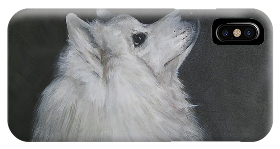 Samoyeds IPhone X Case featuring the painting To Live With A White Dog by Elizabeth Ellis