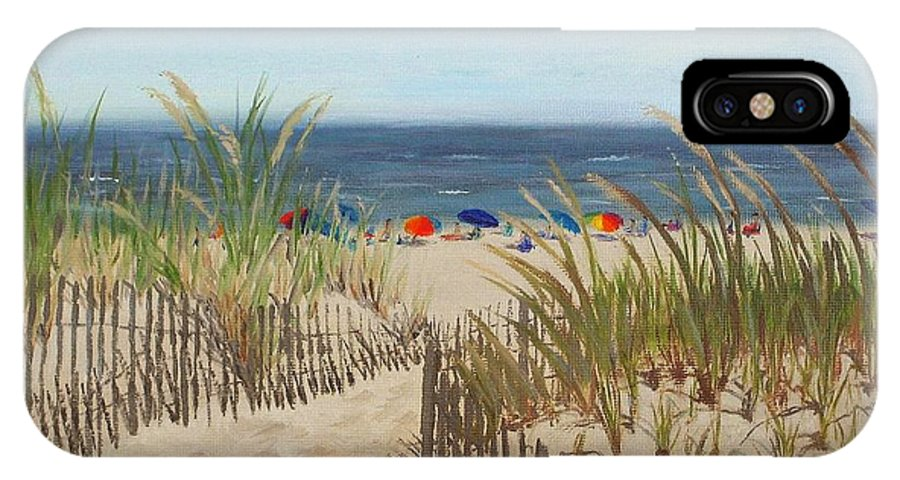 Beach IPhone X Case featuring the painting To The Beach by Lea Novak