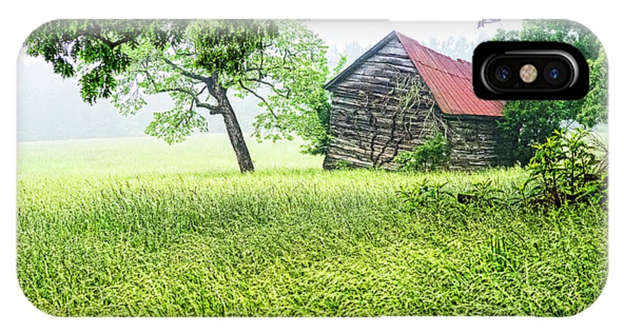 Barn IPhone X / XS Case featuring the photograph Tobacco Barn In Fog by Doug Berry