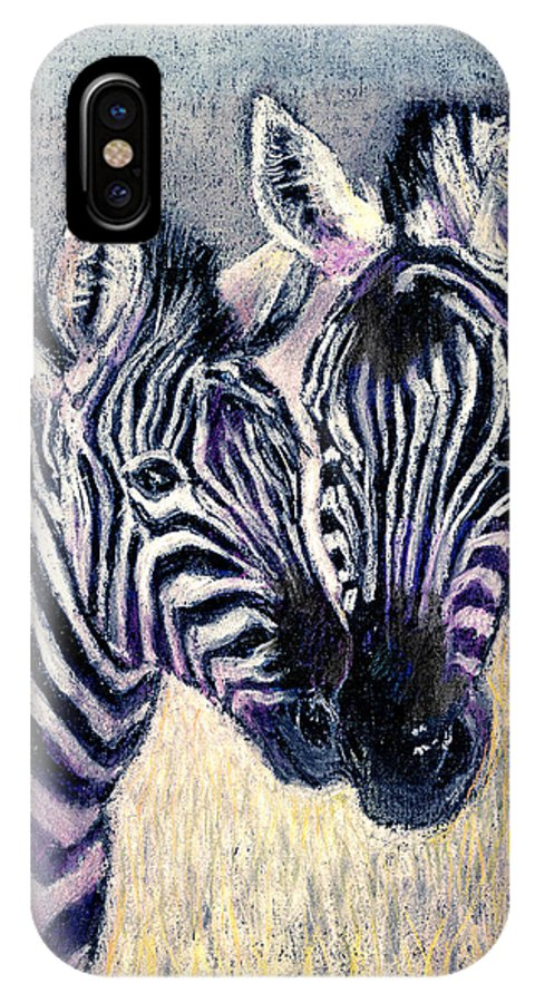 Zebras IPhone X / XS Case featuring the pastel Together by Arline Wagner