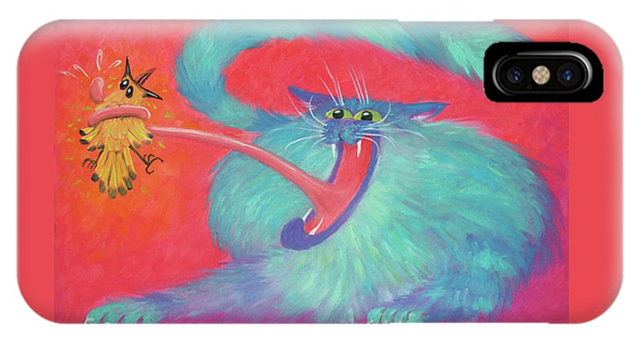 Cat IPhone X Case featuring the painting Tongue-tied by Baron Dixon