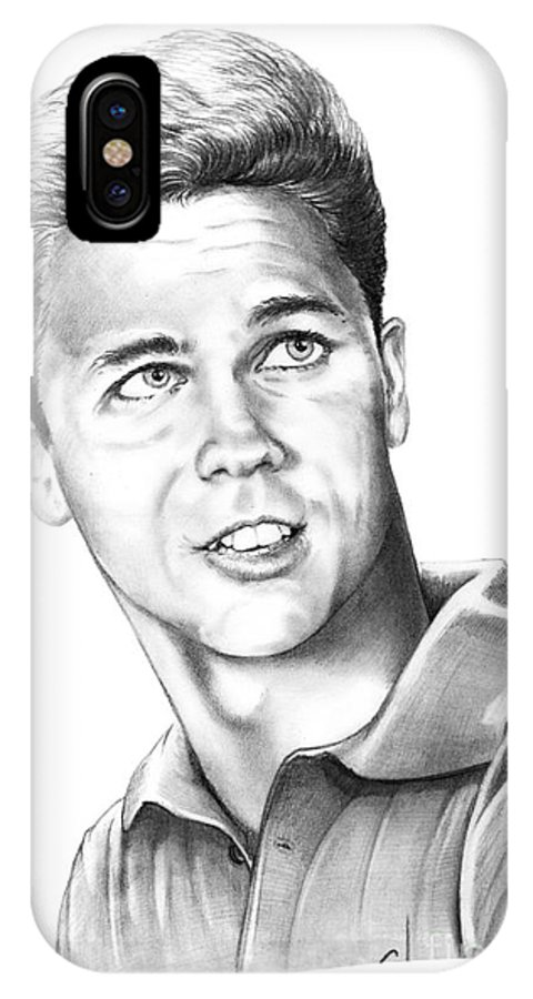 Portrait IPhone X Case featuring the drawing Tony Dow-whally Cleaver-murphy Elliott by Murphy Elliott