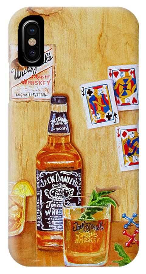 Jack Daniels IPhone X Case featuring the painting Too Many Jacks by Karen Fleschler
