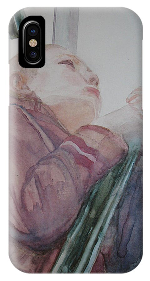 Boy IPhone X Case featuring the painting Top Of The Lighthouse Stairs by Jenny Armitage