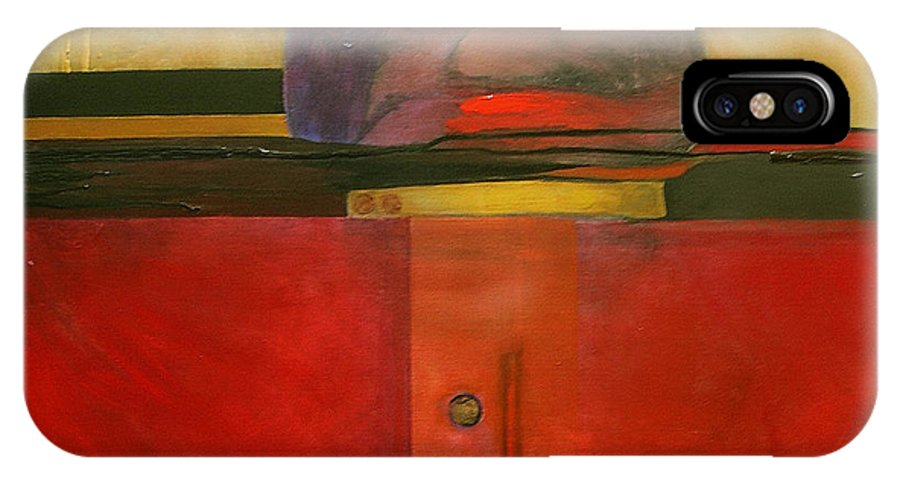 Abstract IPhone X Case featuring the painting Tops by Marlene Burns