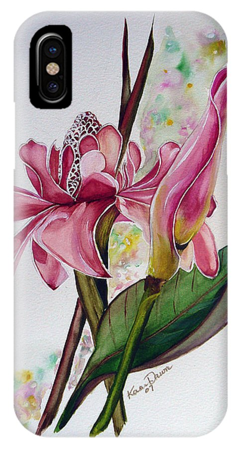 Flower Painting Floral Painting Botanical Painting Flowering Ginger. IPhone X Case featuring the painting Torch Ginger Lily by Karin Dawn Kelshall- Best