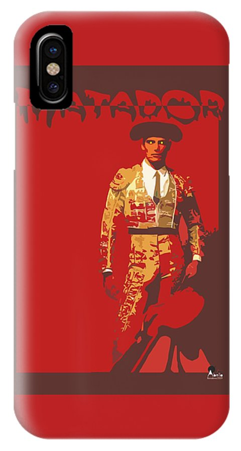 Torero IPhone X Case featuring the digital art Torero by Joaquin Abella