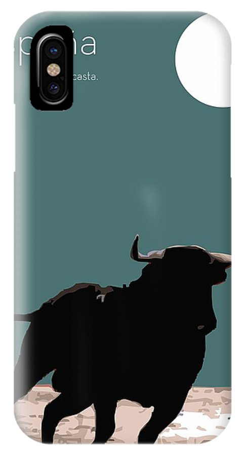 Toro IPhone X Case featuring the digital art Toro Bravo by Quim Abella