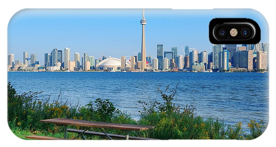 Toronto IPhone X Case featuring the photograph Toronto Skyline From Park by Songquan Deng