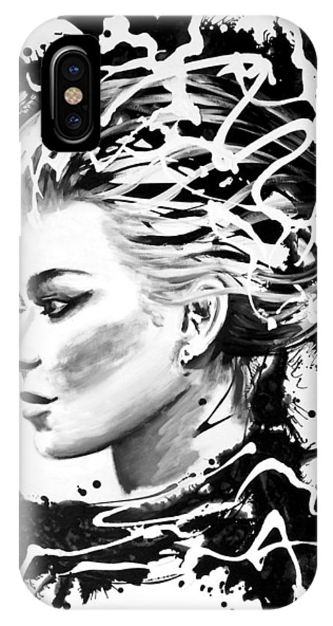 Black & White IPhone X Case featuring the painting Torrential I by Jill English