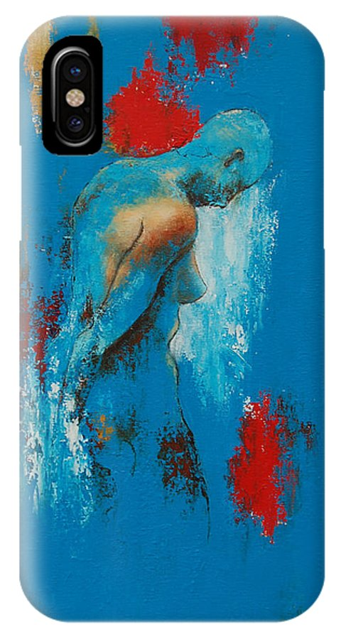 Female IPhone X Case featuring the painting Torso In Blue by Jos Van de Venne