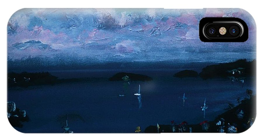 Dark Blue Skies IPhone X Case featuring the painting Tortola Clouds At Hill Top by Andre Francis