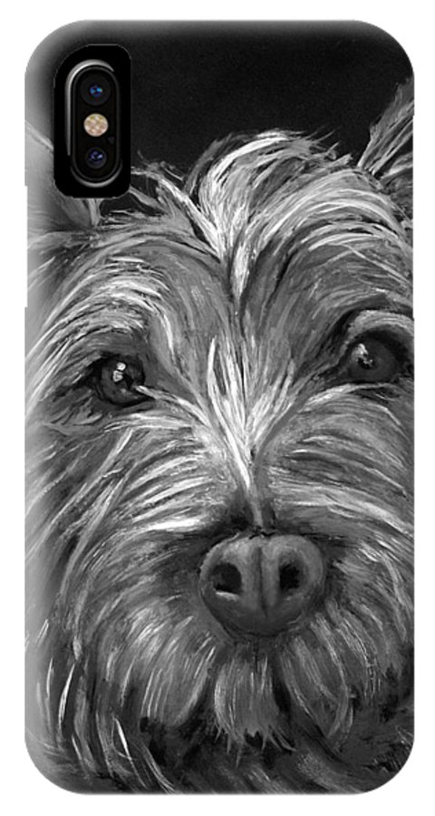 Dogs IPhone X Case featuring the painting Tosha The Highland Terrier by Portraits By NC