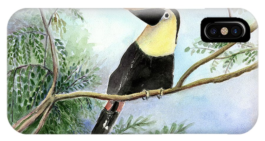 Toucan IPhone X Case featuring the painting Toucan by Arline Wagner
