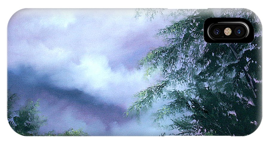 Fog IPhone X Case featuring the painting Touch Of Blue by Sally Seago