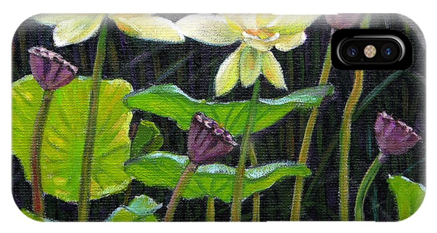 Lotus IPhone X Case featuring the painting Touching Lotus Blooms by John Lautermilch
