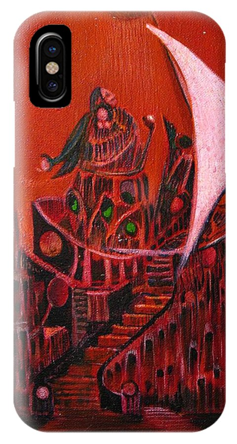 Visionary Art IPhone X Case featuring the painting Tower Of Silence by Robert Gravelin