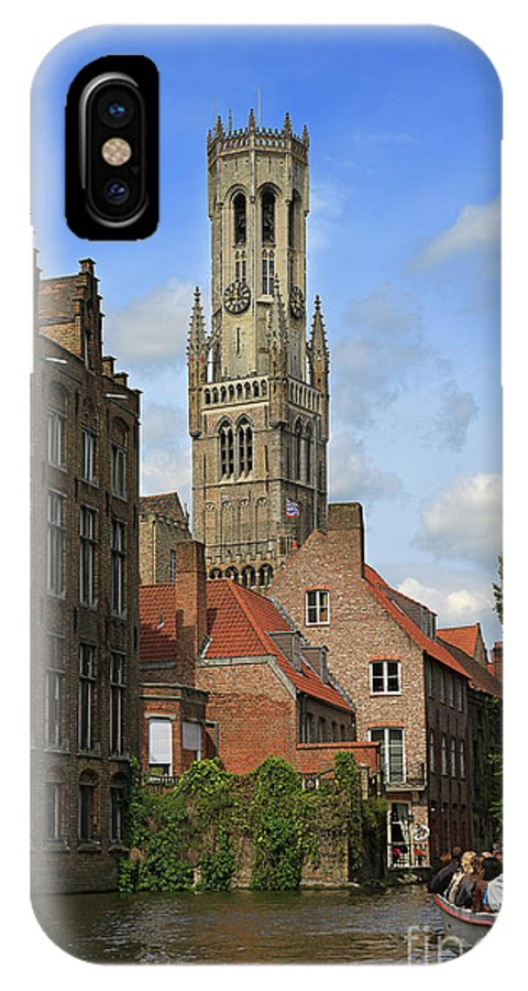Bruges IPhone X Case featuring the photograph Tower Of The Belfrey From The Canal At Rozenhoedkaai by Louise Heusinkveld