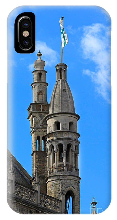 De Burg IPhone X Case featuring the photograph Towers Of The Town Hall In Bruges Belgium by Louise Heusinkveld