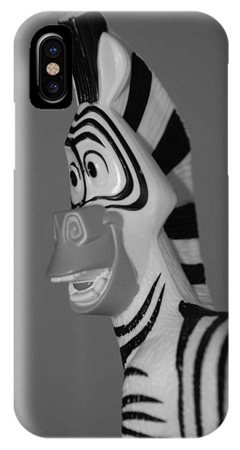 Black And White IPhone X Case featuring the photograph Toy Zebra by Rob Hans