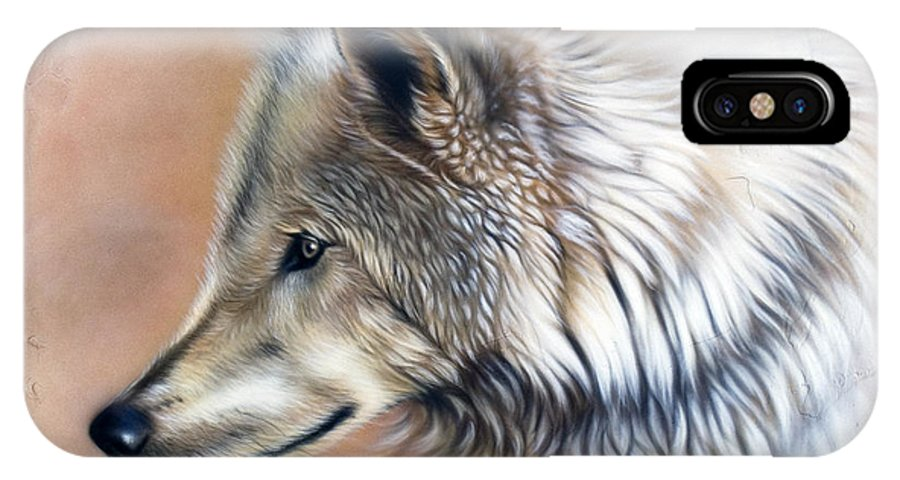 Wolves IPhone X Case featuring the painting Trace IIi by Sandi Baker