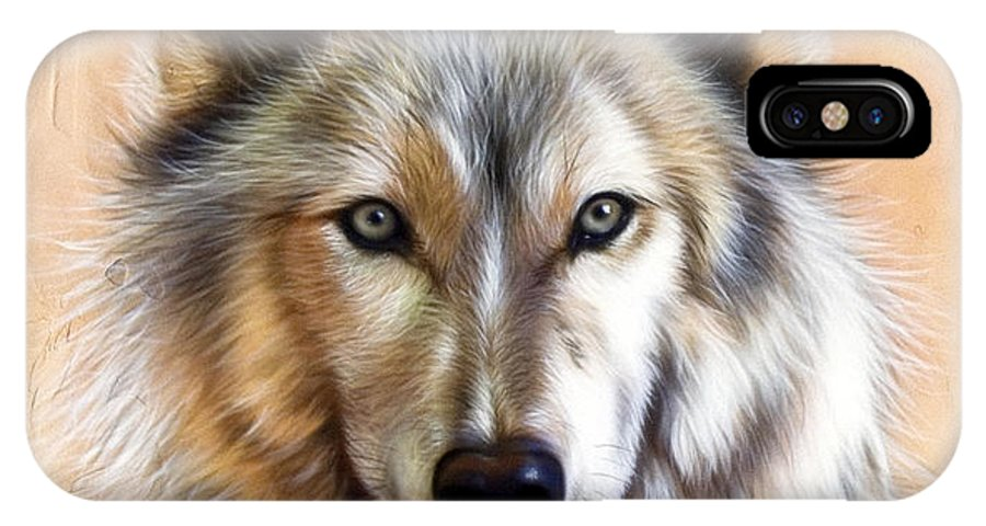 Wolves IPhone X Case featuring the painting Trace Two by Sandi Baker
