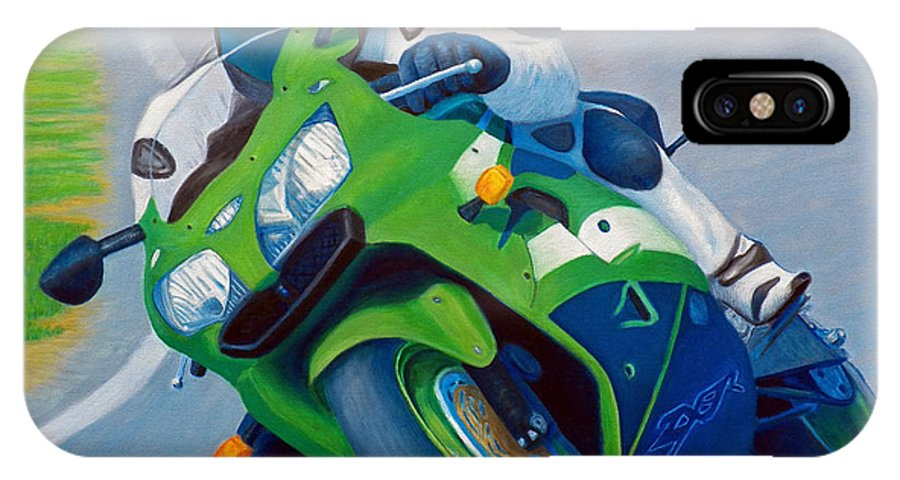 Motorcycle IPhone X Case featuring the painting Track Day - Kawasaki Zx9 by Brian Commerford