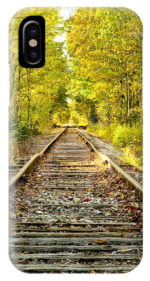 Foliage IPhone X Case featuring the photograph Track To Nowhere by Greg Fortier