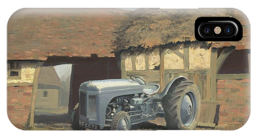 Tractor IPhone X Case featuring the painting Tractor and Barn by Richard Picton