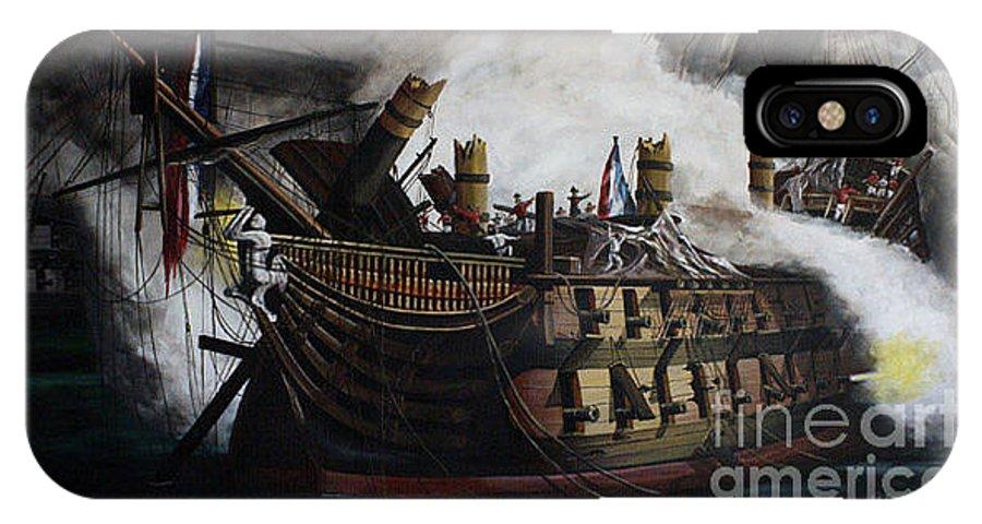 Destruction Of The Bucentaure IPhone X Case featuring the painting Trafalgar - Destruction Of The Bucentaure 72 X 36 In 182 X 91 Cm by Richard John Holden RA